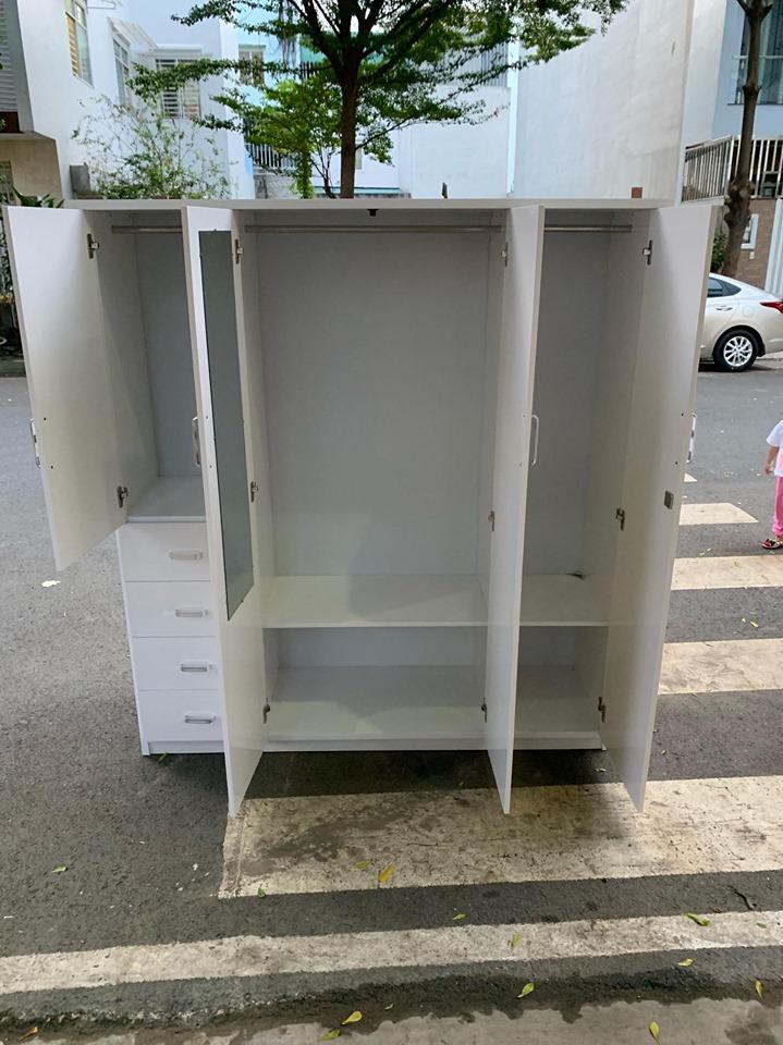 Tủ quần áo nhựa 4 cánh trắng viền TQTV Nội thất Trâm Lâm (Ảnh 1)
