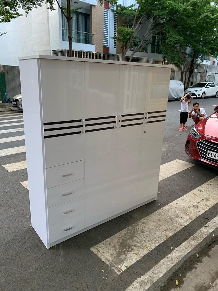 Tủ quần áo nhựa 4 cánh trắng viền TQTV Nội thất Trâm Lâm (Ảnh 2)