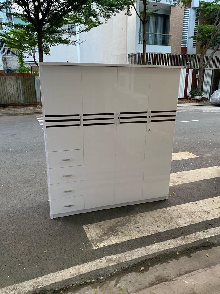 Tủ quần áo nhựa 4 cánh trắng viền TQTV Nội thất Trâm Lâm (Ảnh 3)