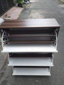 Tủ giày gỗ nâu trắng TGG80 Nội thất Trâm Lâm (Ảnh 3)