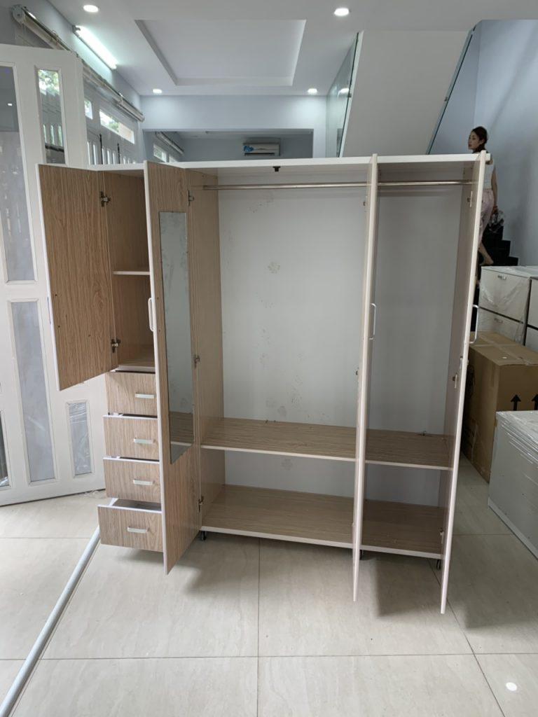 Tủ quần áo 4 cánh nhựa Đài Loan TQAS4C Nội thất Trâm Lâm (Ảnh 2)